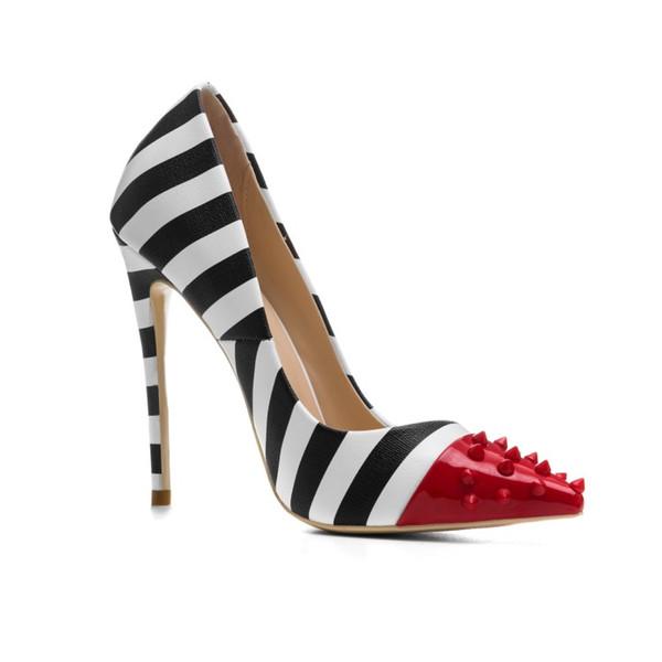 2019 Yeni moda toptan 12 CM yüksek topuk elbise ayakkabı sivri burun perçin özel zebra PU model elbise ayakkabı kadın toptan Çin