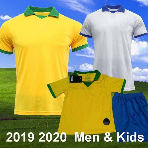 2019 Copa america P COUTINHO JESUS Soccer Jerseys FIRMINO MARCELO WILLIAN brasil Football Shirt Long Sleeve camisa de futebol Kids Kit