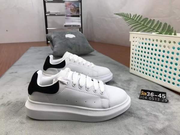 best selling 2019 New Designer Shoes Fashion Women Shoes Men's Leather Lace Up Platform Oversized Sole Sneakers White Black Casual Shoes 36-45