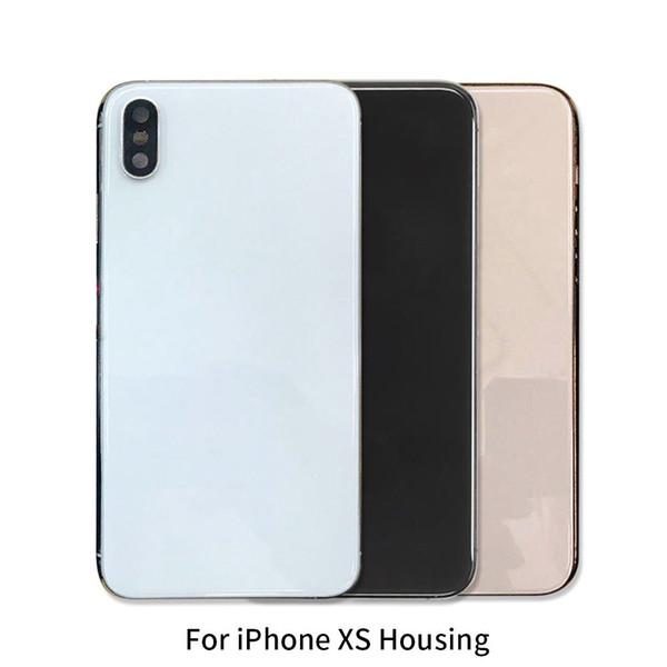 Peças de volta chassi quadro médio para iphone x / xs / xr / max / habitação montagem tampa da bateria caso sim cartão com imei
