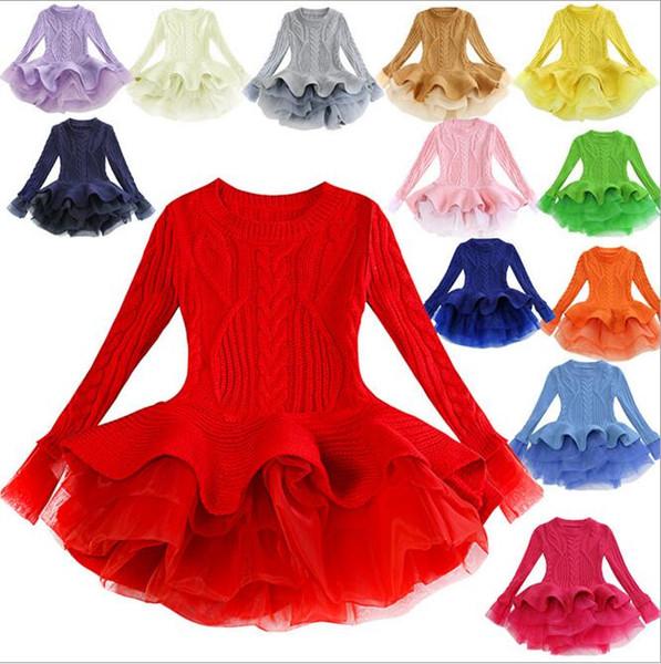 Ins Korea Exquisite Spring Winter Maglione Tutu Dress Manica lunga Collo tondo Organze Tutu Dress Dancing girl Dress