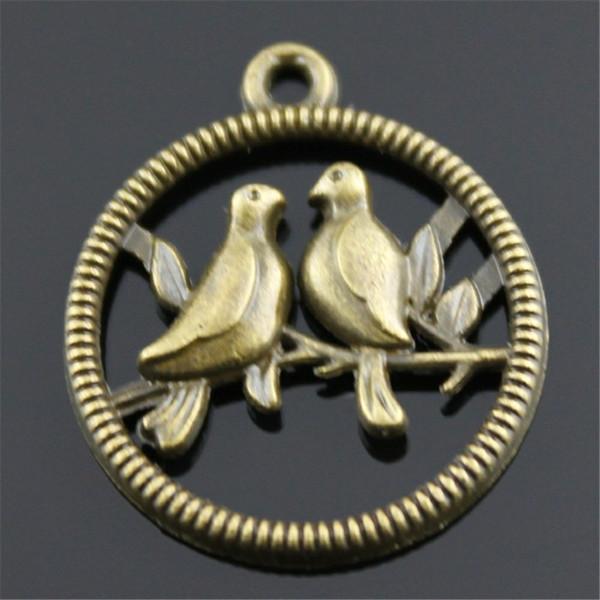 100 adet Charm Aşk Kuşlar Vintage Yuvarlak Aşk Kuşlar Charms Kolye Takı Yapımı Için Antik Bronz Renk Kuşlar Charms 20x23mm