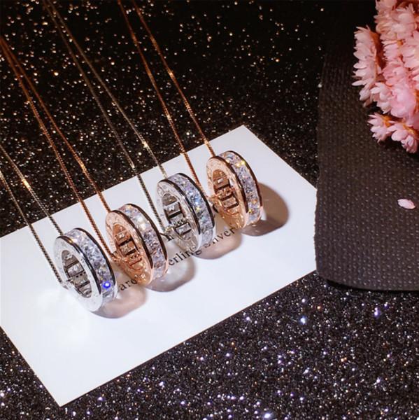 Bijoux de luxe à l'infini 100% 925 Sterling SilverRose Gold Fill Topaz Claire CZ Diamant Pierres Précieuses Zodiac Pendentif Collier De Mariage Pour Les Femmes