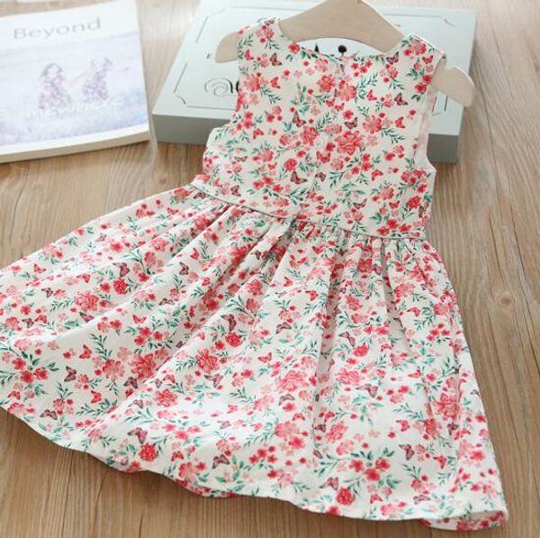 Yeni kız çocuklar Elbise Zarif elbise Yuvarlak yaka Kolsuz Tam Çiçek Baskı Yay Tasarımı ile kız çocuklar elbise büyüleyici kız elbise
