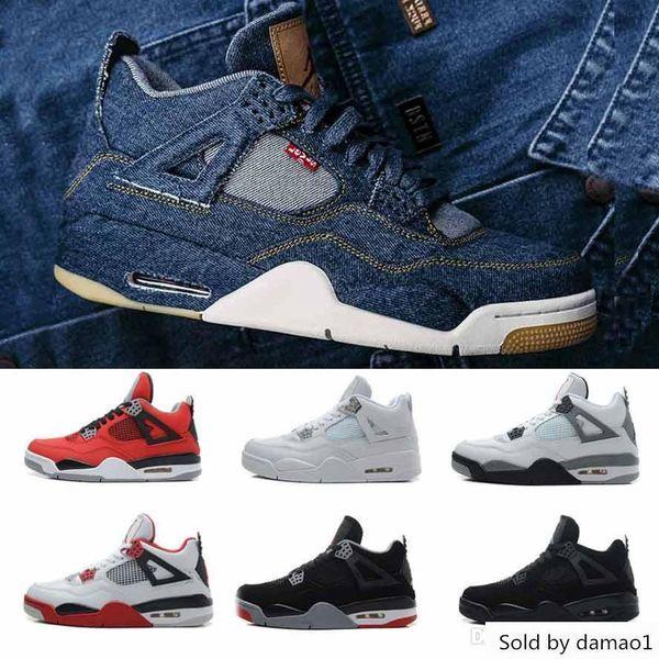 Cheap 4s 4 Basketball Sneakers Men Denim Tattoo Travis Sc0tt Singles Day Black Cat Trainers Outdoor Sports Shoes Man Eur 40-47