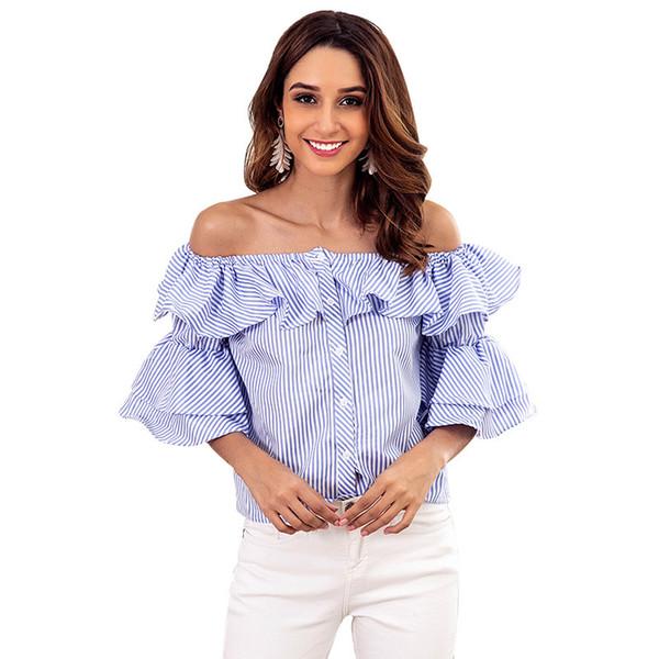 2019 takım elbise yaz yeni desen mavi şerit bir kelime kurşun lotus yaprağı kenar seksi ceket düğmesi kısa gömlek bluz kadın şifon artı boyutlu