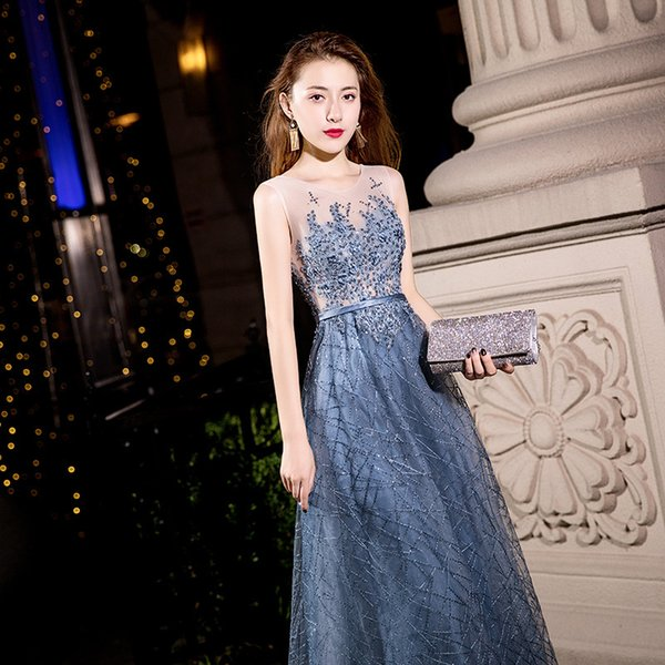 New 2019 beading Evening Dress Elegant Banquet Champagne Lace Sleeveless Floor-length Long Party Formal Gown Robe De Soiree