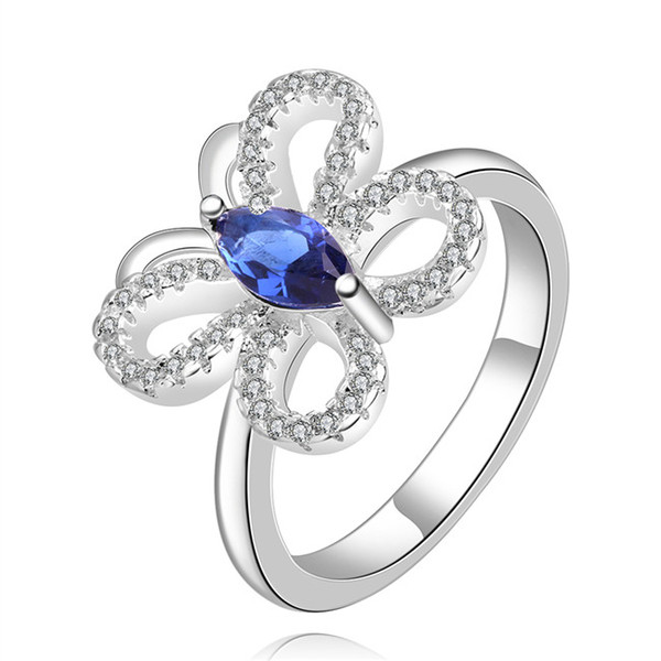free ship Epacket DHL Plated sterling silver Butterfly blue zircon ring DASR435 US size 8; women's 925 silver plate With Side Stones Rings