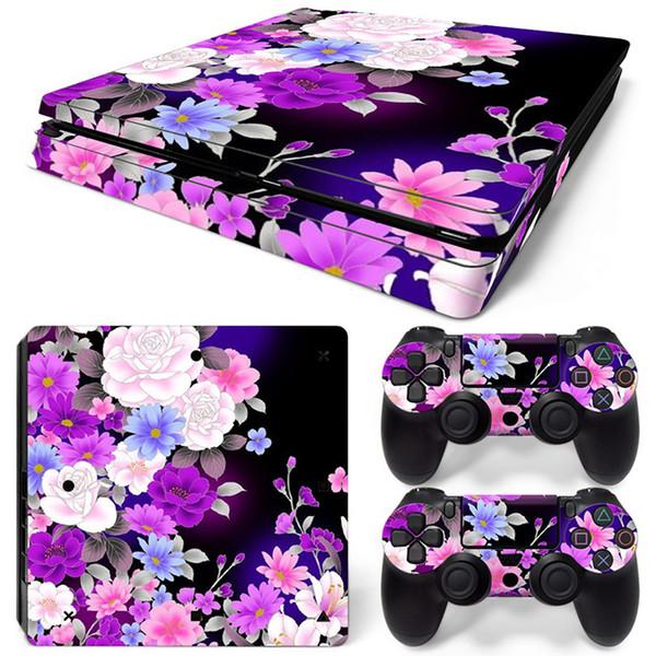 Stickers Fanstore Skins Flower Design en vinyle pour console Playstation PS4 Slim et 2 contrôleurs