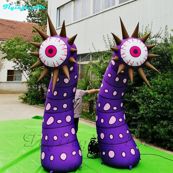 Store Theme Decorations Inflatable Variant Eyeball 3m Height Air Blow Plant Flower Column For Concert Stage And Party