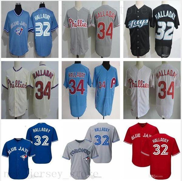 Temple de la renommée Vintage 2019 32 Roy Halladay Jersey Toronto Halladay Blue Jays Maillots de baseball des Phillies de Philadelphie pour femmes