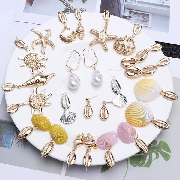 Statement Earrings 2019 Starfish Turtle Cowrie Shell Sea Star Pendant Earrings for Women Gold Silver Metal Summer Beach Jewelry