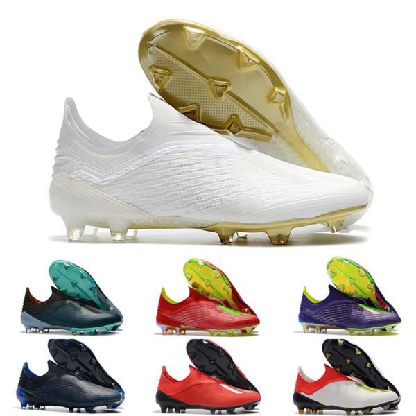 Acheter 2019 Chaussures De Soccer Pour Hommes X 18+ FG Chaussures De Football Haute Sans Lacets Messi Original Bottes De Football En Plein Air Scarpe