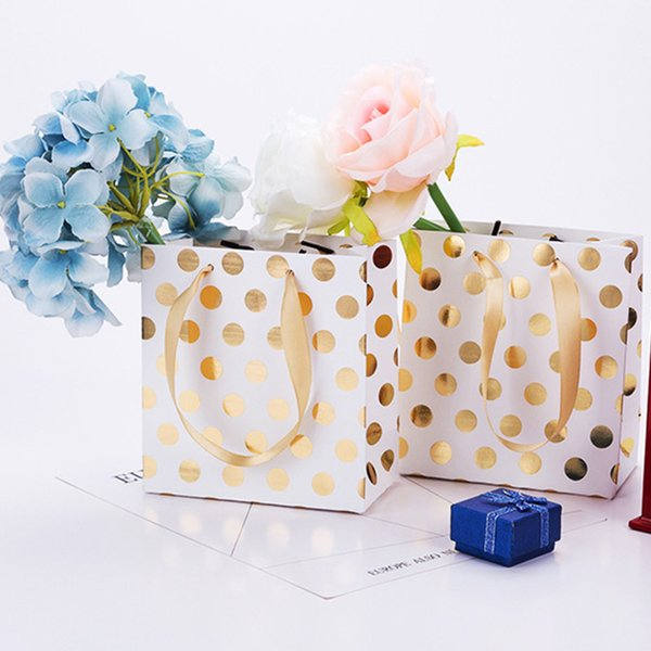 12pcs/pack With Handles Celebration Gift Bag Party Favor Polka Dot Tote Pouch Present Portable Decoration Wedding Christmas