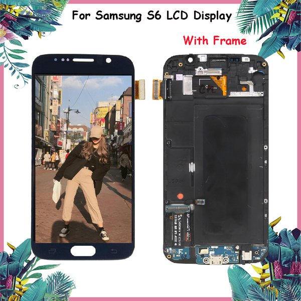 ORIGINAL 5.1'' Display with Frame for SAMSUNG Galaxy S6 G920 G920F Touch Screen Digitizer Replacement LCD Black White Gold