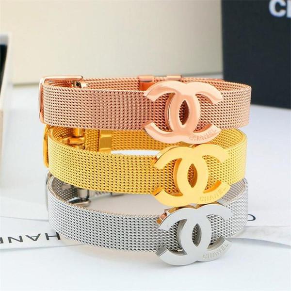 Titane Acier Montre Ceinture Modèle Bracelets De Mode Lettre Femmes Marque Bracelets Cadeaux D'anniversaire Charme Filles Bracelet