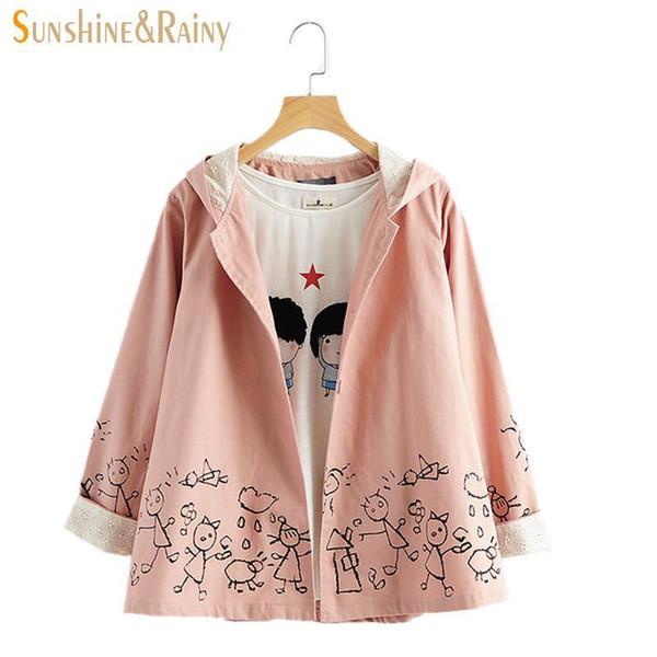 Großhandels-nette Frauen-Herbst-Mantel-lange Hülsen-Jacken-Wolken-Vogel-Druck-weibliche japanische Blumen-mit Kapuze Windjacke halten warme Mäntel für Frauen
