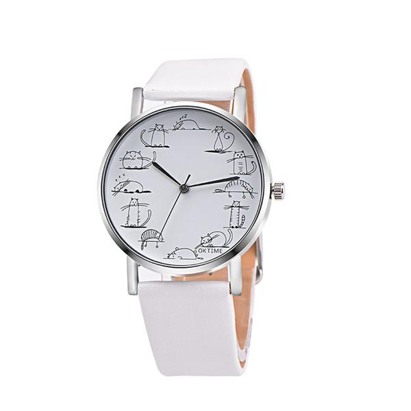 OKTIME Hombres Mujeres Amantes Reloj Retro Diseño Encantador Gato de Dibujos Animados de Cuero Hebilla de Banda de Aleación de Reloj de Cuarzo Relojes de pulsera de Regalo