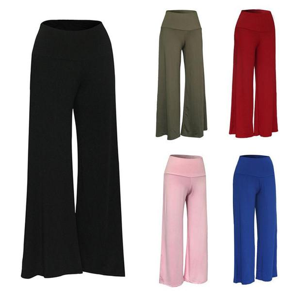 Новый 2017 Женщины Леди брюки палаццо стрейч широкие ноги Высокая талия длинные свободные повседневные брюки твердые плюс размер S-XXXL