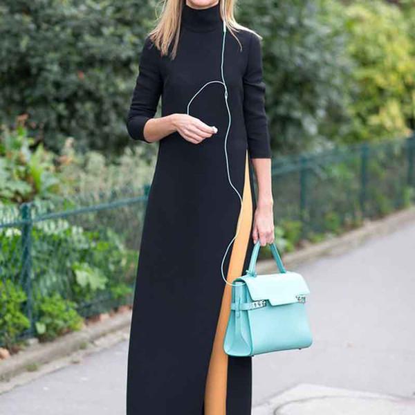 Women Long Dresses Knitted Large Size Muslim Robe Elasticity High Collar Split Elbow Sleeve Floor-Length Mid Waist Irregular Solid 6