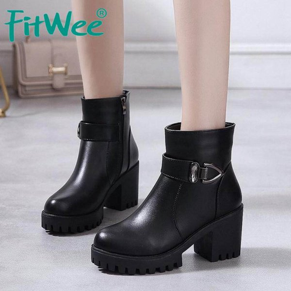 fitwee high heels ankle boots for women winter plush fur keep warm shoes women casual buckle zipper platform boots size 35-40