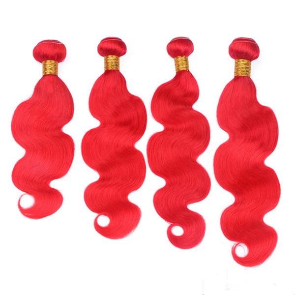 Coloré Rouge Brésilienne Vierge Cheveux Humains Tisse Extensions Vague de Corps Vierge Tisse Faisceaux De Tissage Vif Rouge Trames De Cheveux Humains 4 Pcs Lot 10-30