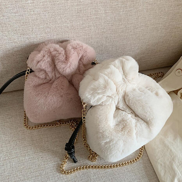 Elegant Female Casual Bucket bag 2019 Winter New High Quality Soft Plush Women's Designer Handbag Chain Shoulder Messenger Bag