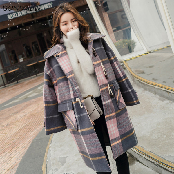 Blends Women Winter Warm Thicker Long Sleeve Plaid Printed Horn Button Womens Coats British Style All-match Leisure Elegant Chic