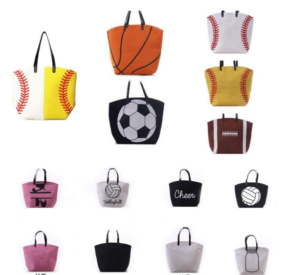 best selling Canvas Bag Baseball Tote Sports Bags Casual Softball Bag Football Soccer Basketball Cotton Canvas Tote Bag 20 DESIGN KKA1814
