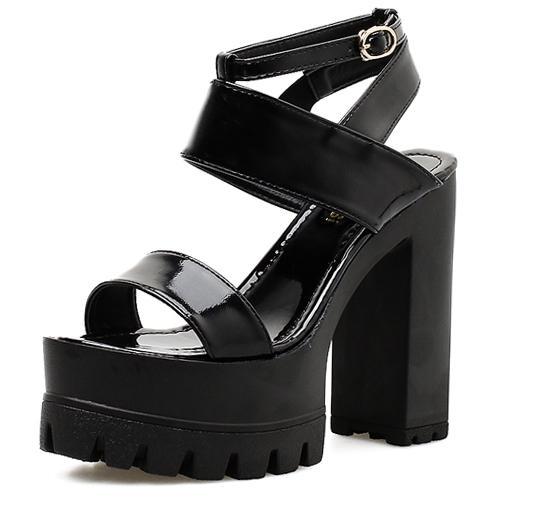 Spring Platform Heels Sandal New Summer Shoes Women White Open Toe Button Belt Thick Heel Wedges Platform Shoes Fashionable Casual Sandals