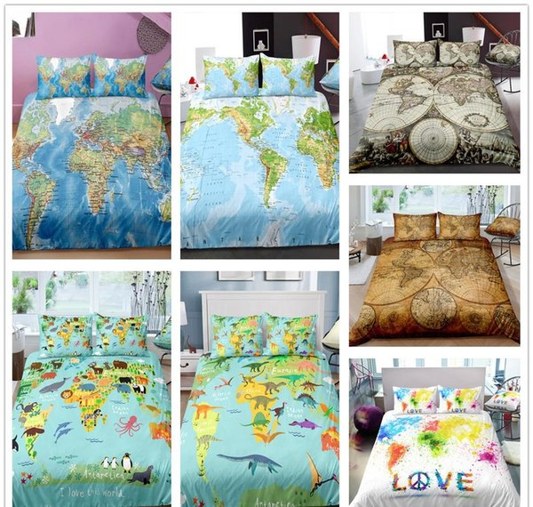 World Map Series Bedding Set Twin Full Queen Size 2/Duvet Cover Set With  Pillowcase For Kids Cartoon Quilt Cover Boys Bedding Sets Nursery Bedding  ...