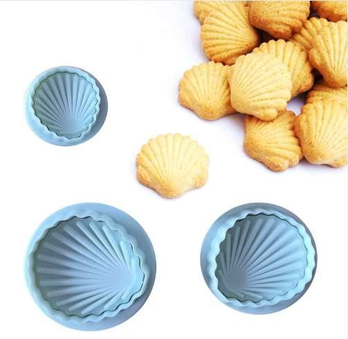 3pcs/set Shell Fondant Cake Decorating Tools Cookies Cutters Set Plunger Cake Mold Tools Bakeware Biscuit Molds Baking Molds