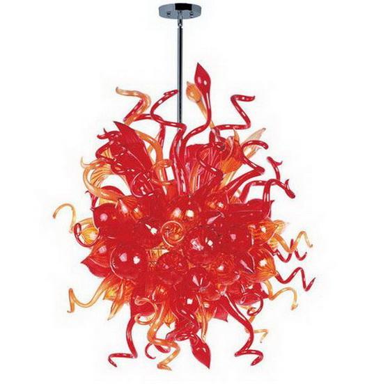 Декорирование дома Люстра из дутого стекла Верхний дизайн Боросиликатное стекло Изящный светодиодный свет Люстры Стеклянные подвесные светильники