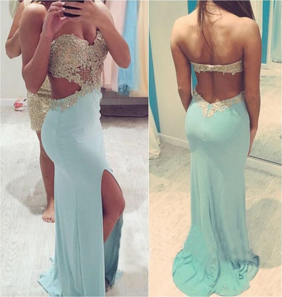 Light Blue Lace Beading Pageant Evening Dress Girl's Fashion Backless Special Occasion Prom Bridesmaid Party Dress