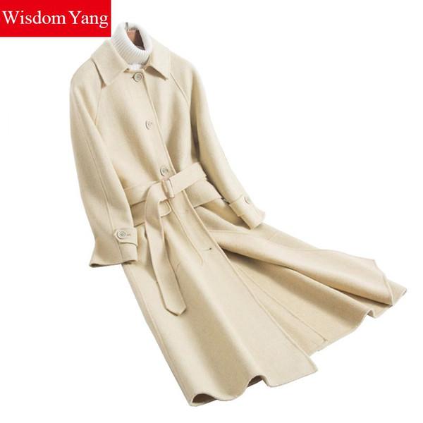 Winter Echt Schafwolle Frauen Mäntel Trench Warm 2019 Weiblichen Mantel Beige Korean Woolen Frau Gürtel Büro Damen Mantel Oberbekleidung
