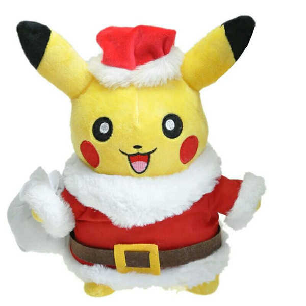 Acheter De Noël Pikachu En Peluche Jouet Cosplay Père Noël Kawaii Doux En Peluche De Dessin Animé Anime Enfants Jouets Poupées Pour Décoration De Noël