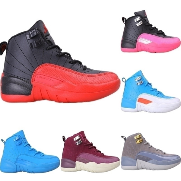 2020 12s OVO Blanc Gamma Bleu Enfants mi cuir de basket-ball Bottes Originals 12 OVO blanc Tampon en caoutchouc Chaussures de sport