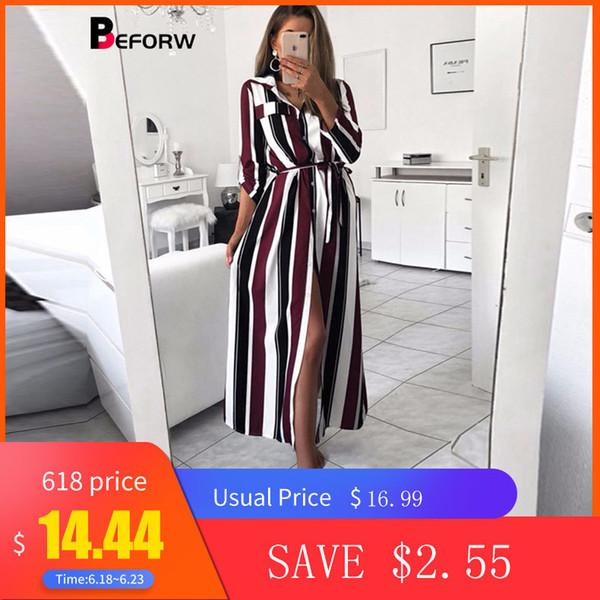 Beforw 2019 Office Lady Turn-down Collar Button Lace Up Long Shirt Dress Women Autumn Spring Long Sleeve Stripe Maxi Dresses J190622