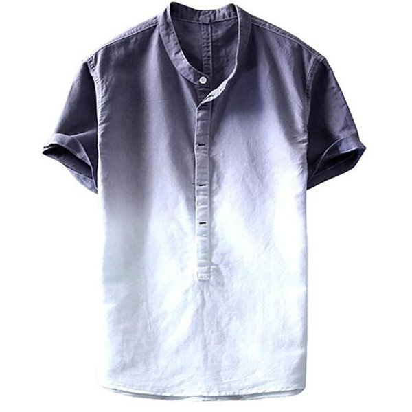 FONMA Summer Mens Cool and Thin Breathable Collar Hanging Dyed Gradient Cotton Shirt