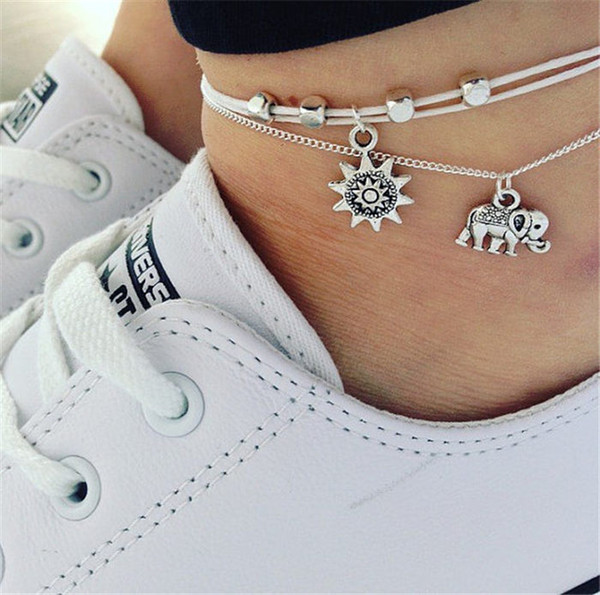 20 styles Vintage Multiple Layers Anklets for Women Elephant Sun Pendant Charms Rope Chain Beach Summer Foot Ankle Bracelet Jewelry ALXY03