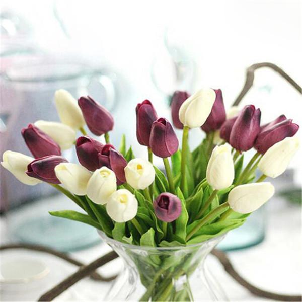 Mini-Tulpen 10st reale Note Tulpe Blume lila Hochzeit hochwertige künstliche Blumen für die Dekoration für Zuhause Blumen