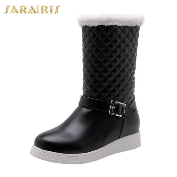 SARAIRIS New Fashion Big Size 33-43 Warm Snow Boots Belt Buckle Shoes Woman Casual Soft Winter Girl Fur Mid Calf Boots Woman