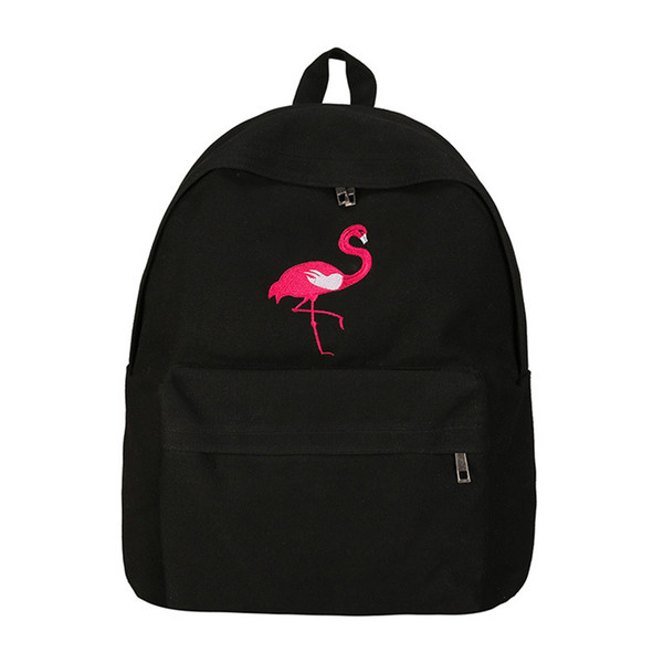 Fashion Personality Flamingo Pattern Backpack Female Simple Large Capacity Outdoor Travel Canvas Bags Chic Wear Resistant Teens School Bags