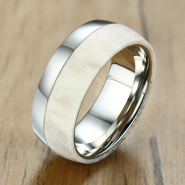 8mm Men Rings Deer Antler Inlay With 316L Stainless Steel Wedding Band Comfit For Engagement Gifts