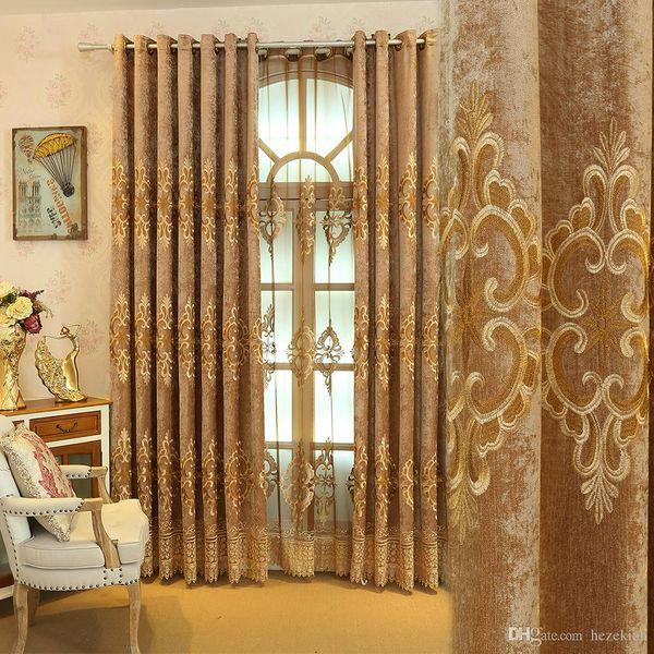 Rideau chinois brodé européen rideaux de chenille d'ombre européen rideaux de salon personnalisé chambre fini