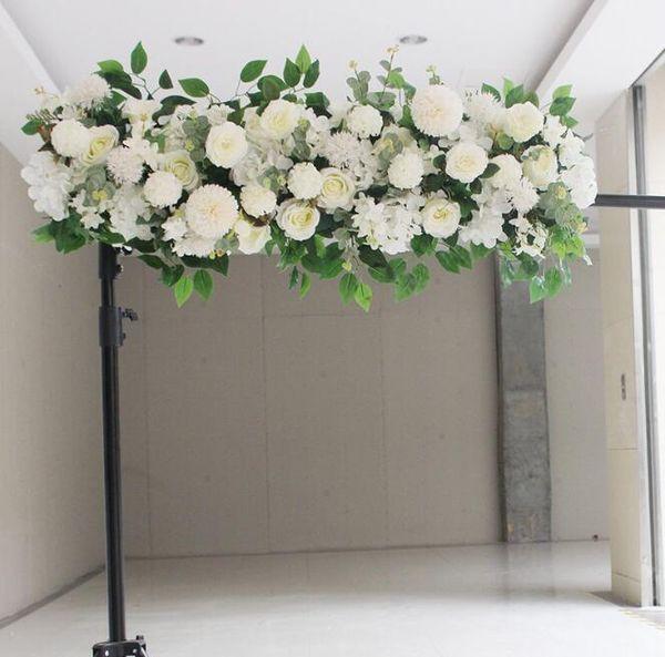 50cm DIY Blume Reihe Akanthosphäre Rose Eukalyptus Hochzeit Dekor Blumen Rose Pfingstrose Hortensie Pflanzenmischung Blume Bogen künstliche Blume Reihe