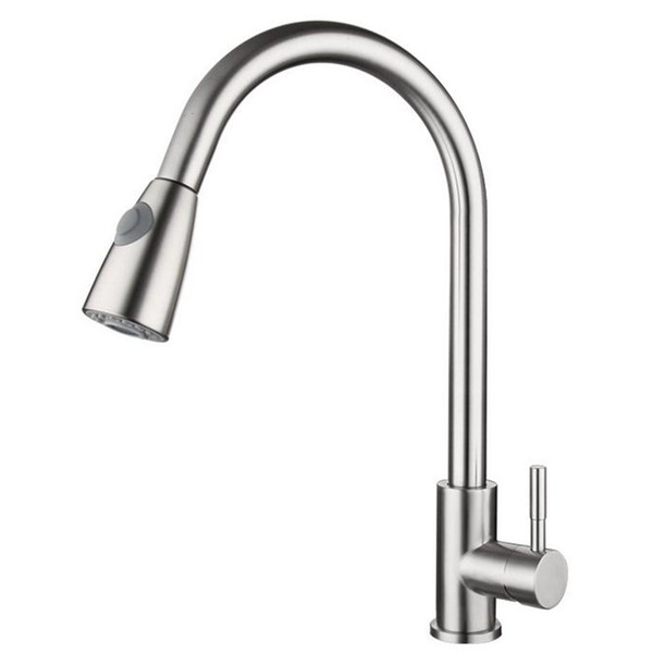best selling Kitchen Sink Brushed Nickel Faucet Pull Out Sprayer Single Hole Swivel Mixer Tap