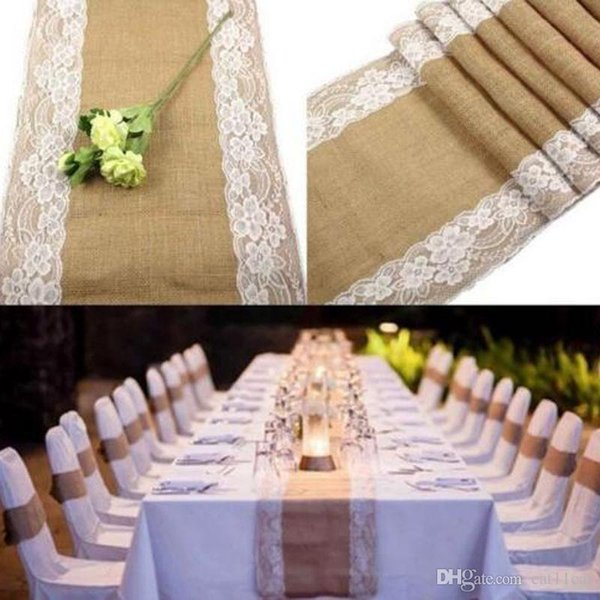"12X108"" Burlap Lace Hessian Table Runner Rustic Natural Jute Country Wedding Party Dining Table Decoration Farmhouse Decor"
