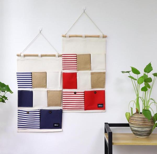 Wall Door Closet Hanging Storage Bag Linen/Cotton Fabric Navy Stripe 8 Pockets Waterproof Debris Bag Organizer Holder Home Organizer