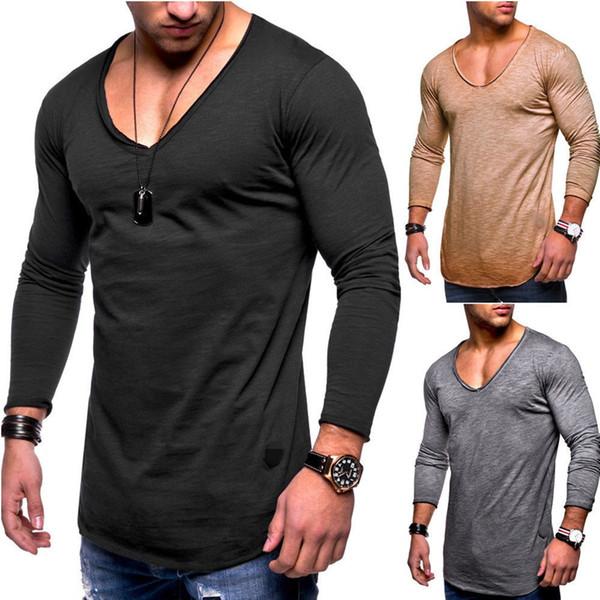 Europäische und amerikanische Mode neue Männer Langarm-T-Shirt Größe Slim Herbst V-Ausschnitt lässig einfarbig Top T-Shirt